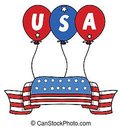 USA Flag Banner Vector - Drawing Art of USA Flag Banner...