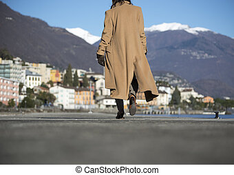 Elegant woman walking on the street and with snow-capped...
