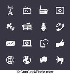Media icons set - Media Icons. Clean vector icons on black