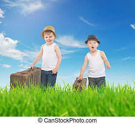 Fancy picture of two boys running with luggage - Fancy...