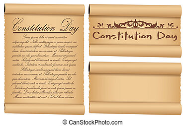 Parchment Banners Constitution Day - Drawing Art of Scroll...