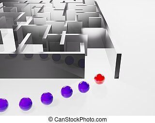 leader and teamwork - metaphoric image, red ball leadering...