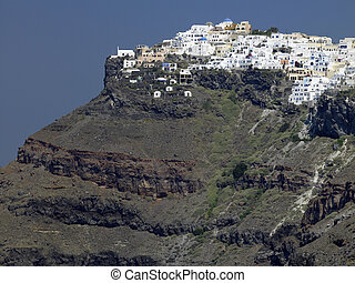 Santorini - Greece - The clifftop town of Imerovigli on the...