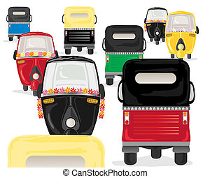 tuk tuk rush hour - an illustration of colorful tuk tuks in...