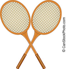 Two crossed tennis rackets in vintage design on white...
