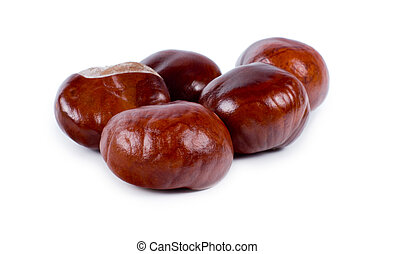 Fresh edible whole sweet chestnuts used as a cooking...