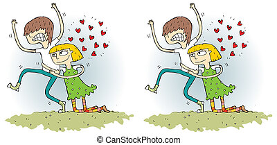 Romance Differences Visual Game. Task: find 10 differences!...