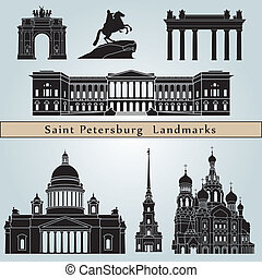 Saint Petersburg landmarks and monuments isolated on blue...
