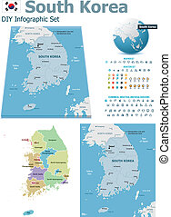 South Korea maps with markers - Set of the political South...