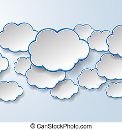 Abstract white paper speech bubbles on light blue background...
