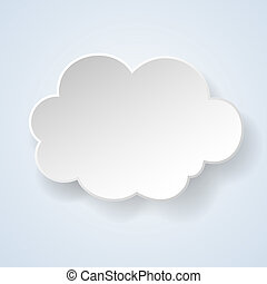 Abstract paper speech bubble in the form of a cloud on light blue background. Vector eps10 illustration