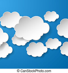 Abstract speech bubbles in the shape of clouds used in a social networks on blue background. Vector eps10 illustration