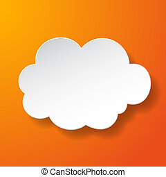 Abstract paper speech bubble in a shape of a cloud on orange background. Vector eps10 illustration