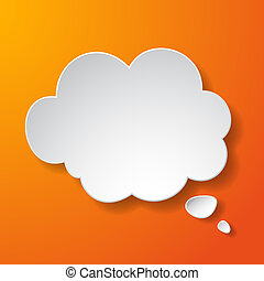 Abstract paper speech bubble in a shape of a cloud on orange...