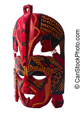 Colorful painted mask isolated on white background