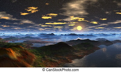 Moonrise on a fantastic planet - Night, star sky Over the...