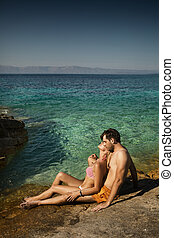 Young couple enjoying their spare time in tropical area