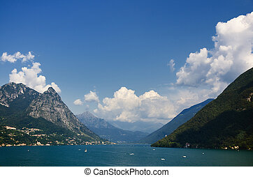 Lake with mountains and blue sky and clouds