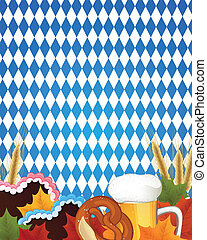 Vector Oktoberfest Background - Vector Illustration of an...