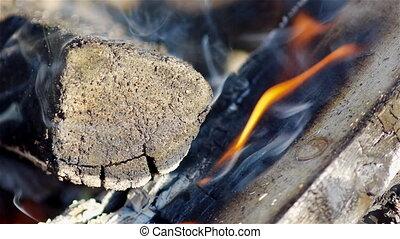 Campfire closeup view