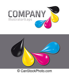 cmyk label - four drops building a cmyk label, illustrator 9...