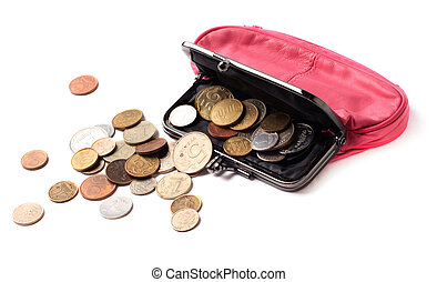 Pink leather purse and several different coins on white...