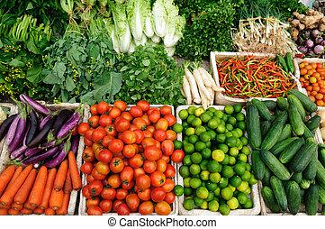 frisk, grönsaken, marknaden