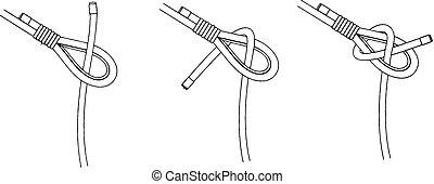 Three ways to tie knot vector illustration