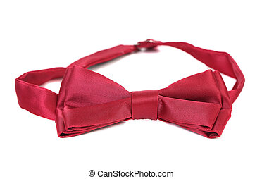 Red bow tie isolated on a white background.