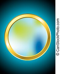 Meshed golden ring with blue backdrop and place for text