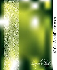 Green abstract backdrop with tire track