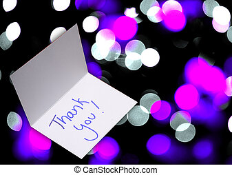 thank you card on abstract background with blur