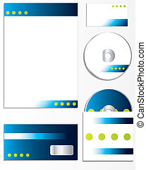 Company business set with green spots
