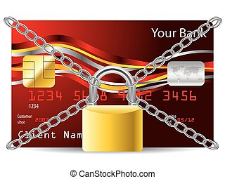 Secure atm card - Secured red credit card with padlock and...