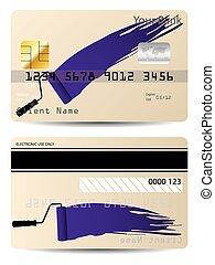 Credit card design with paint rolle