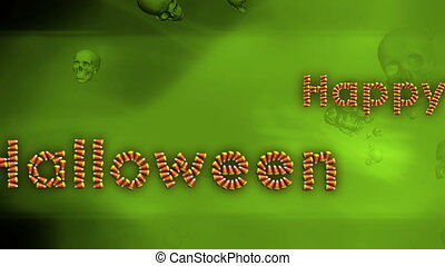 Happy Halloween Background Green Candy Corn and Skulls...