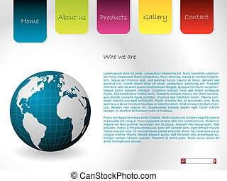 Website template with globe and labels