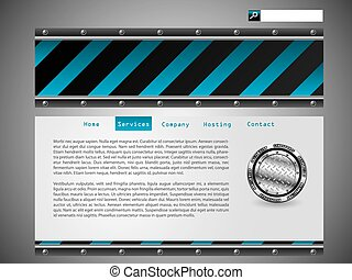 Blue striped website template design
