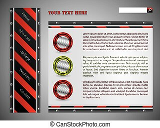 Red striped website template design