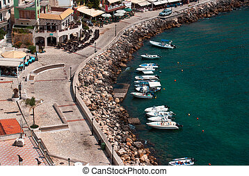 Aerial photo of Parga town and port near Syvota in Greece....