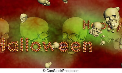 Happy Halloween Background Skulls Looping Animation