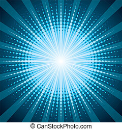 Blue halftone with shine effect background - Blue halftone...