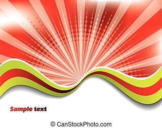 Abstract red background with colored waves