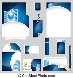 Business vector set in blue - Business vector set with cool...