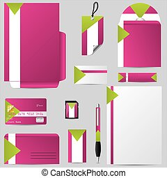 Stationary business set with personalized objects