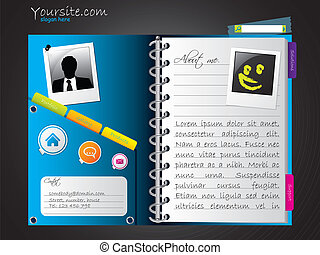Diary-like website template design on black