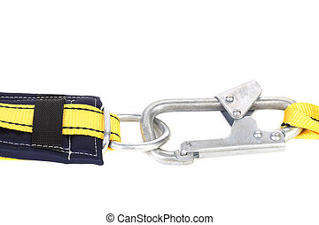 Joining with carabiner. Isolated on a white background.
