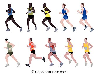 marathon runners illustration - vector