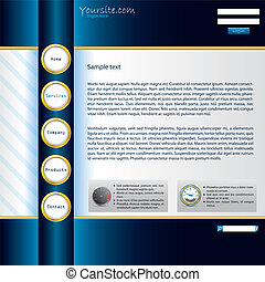 Shiny blue website template with golden buttons