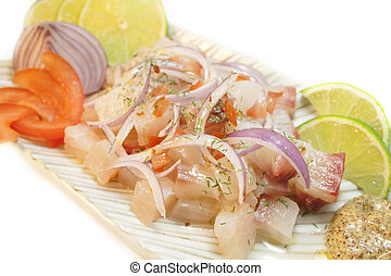 Ceviche - Peruvian food. Raw fish marinated on lime juice.